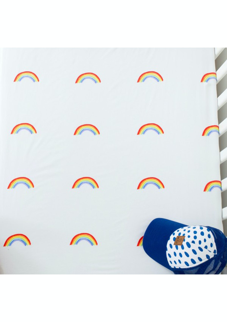 White Fox & Co - Rainbow Bright Fitted Cot Sheet