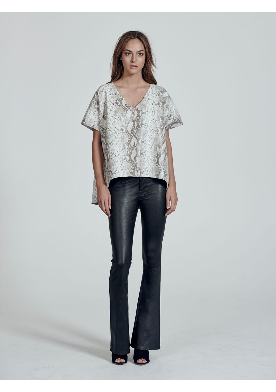 West 14th - West End Leather Tee  - Sanke Print
