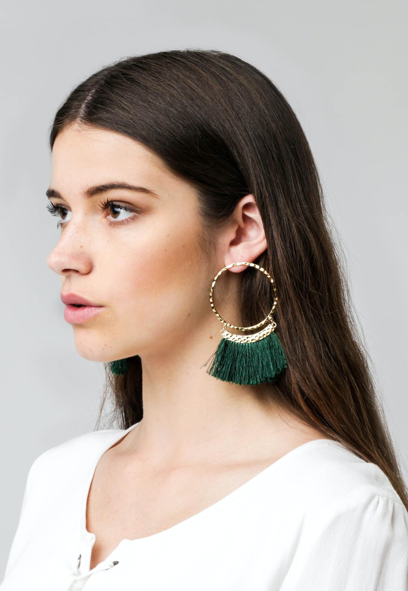 Gold Plated Fringe Hoop  - Emerald/Gold