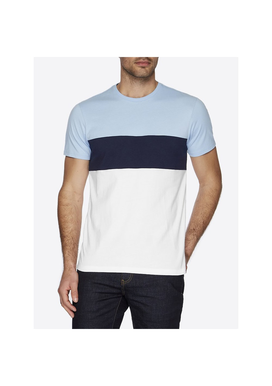 Ben Sherman - Colour Block Crew Neck Tee Sky Blue