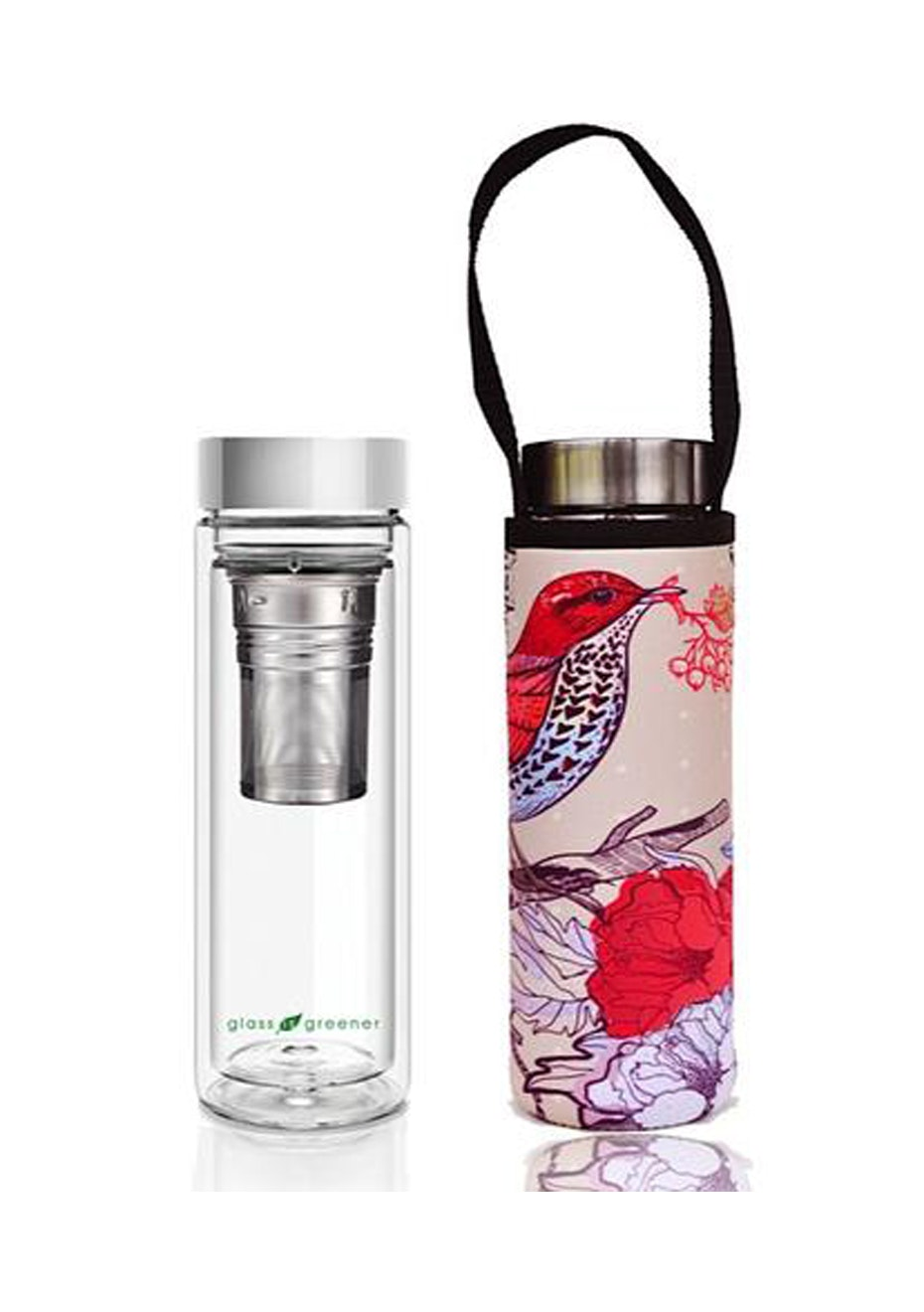 BBBYO - Glass Is Greener double-wall tea flask 500 ml + Carry Pouch (Bird Print) -500 ml