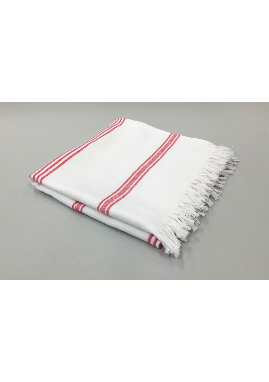 White with Pink Stripe Cotton Turkish Towel