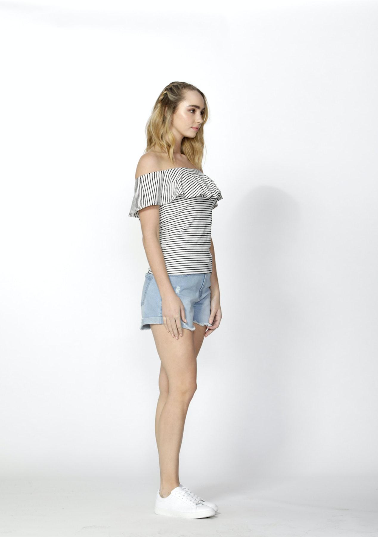 Sass - Ciara Ruffle Overlay Knit Top - Black White Stripe - Betty Basics    Sass   Fate Bonanza - Onceit cfe63f93a