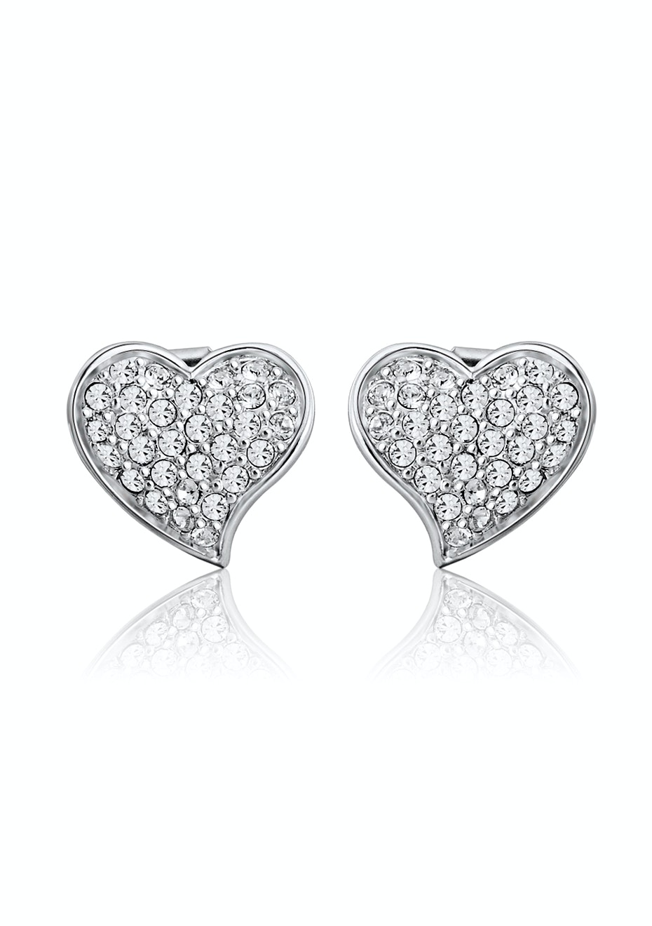 Side Heart Earrings Embellished with Crystals from Swarovski