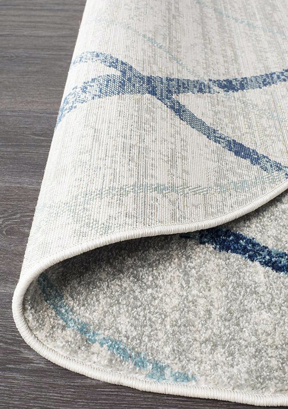 Image of: Small Noah White Blue Contemporary Round Rug 150x150cm Trending Round Rugs Onceit