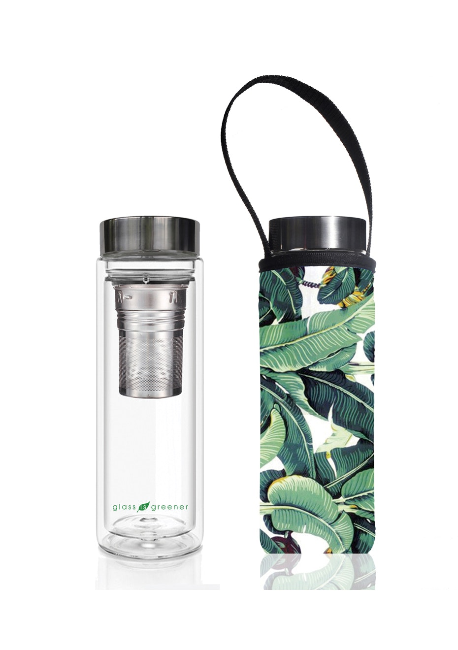 BBBYO - Glass Is Greener double-wall tea flask 500 ml + Carry Pouch (Banana Leaf Print) -500 ml