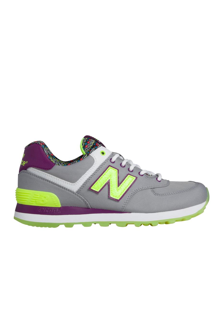 new balance 574 purple yellow