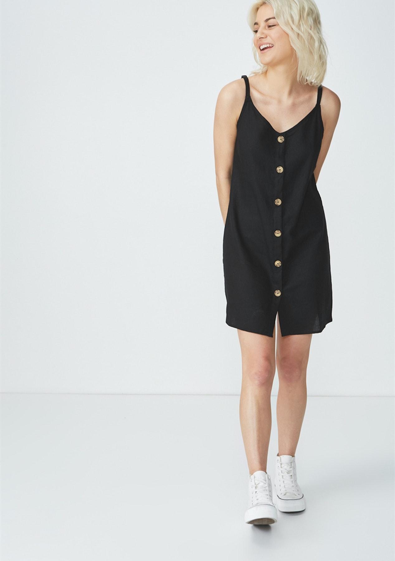 444e275f07d80c Cotton On - Woven Margot Slip Dress/Button Through Black - Cotton On Mega  Sale! 500+ - Onceit