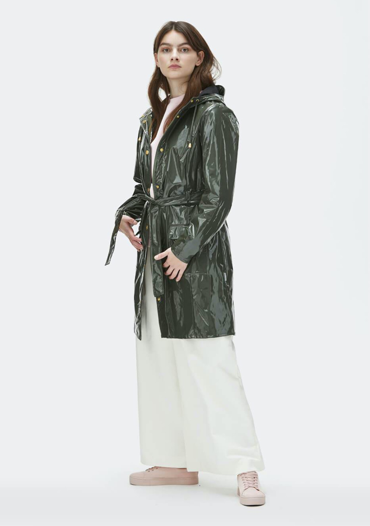 Rains - Womens Glossy Curve Jacket - Green - Rains Outlet - Onceit d222e01299