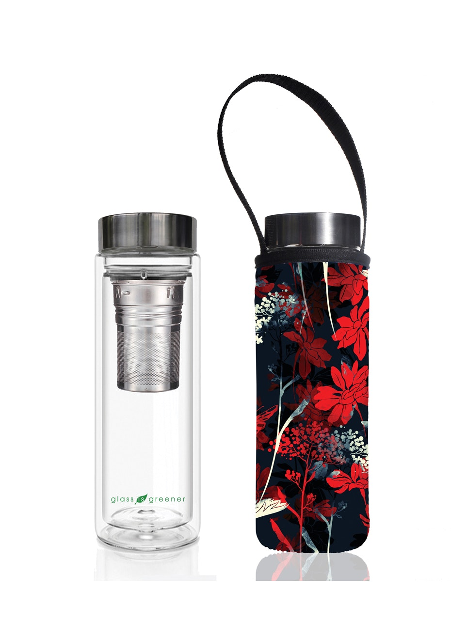 BBBYO - Glass Is Greener double-wall tea flask 500 ml + Carry Pouch (Red Butterfly Print) -500 ml