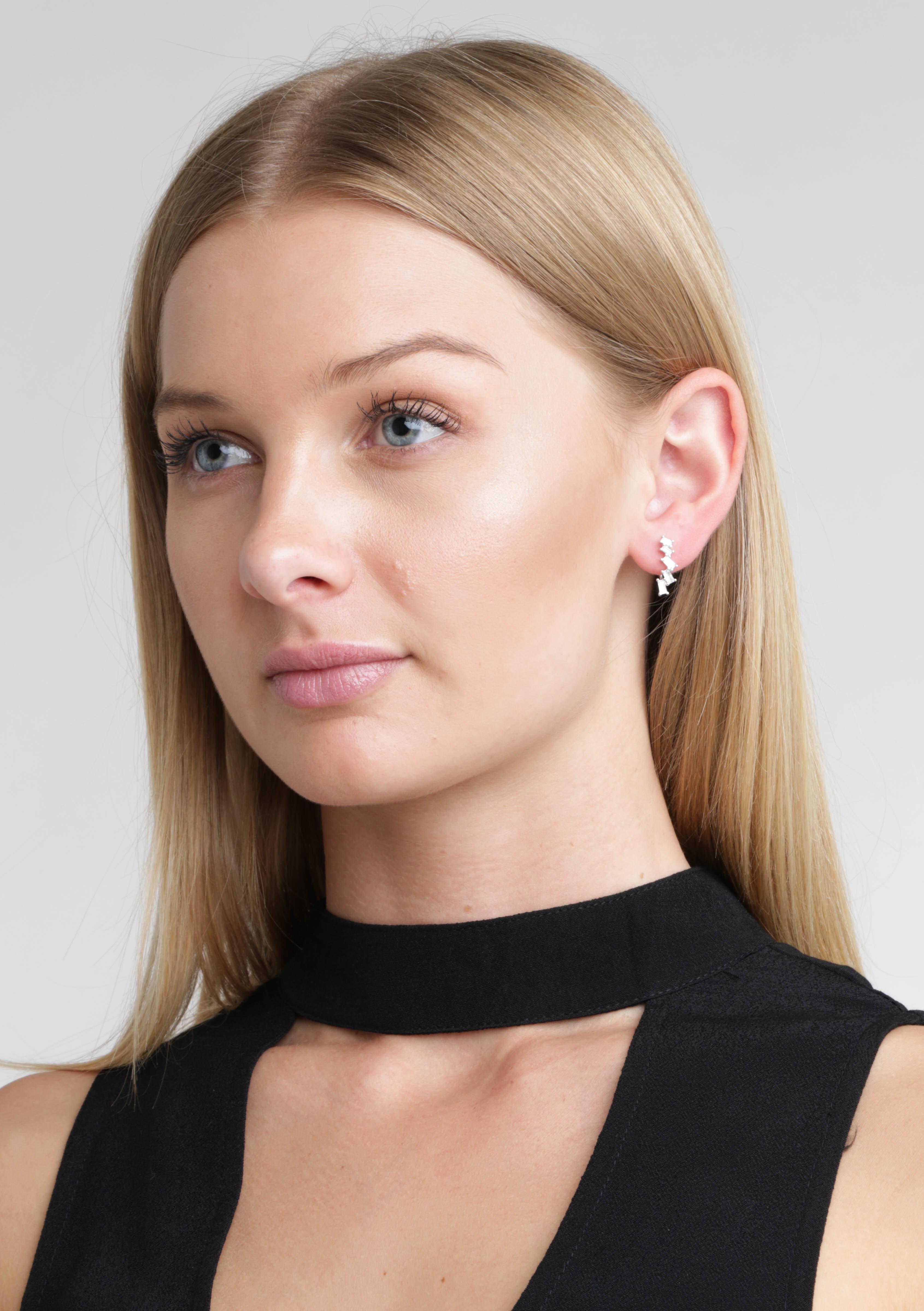 Baguette diamante earring silver