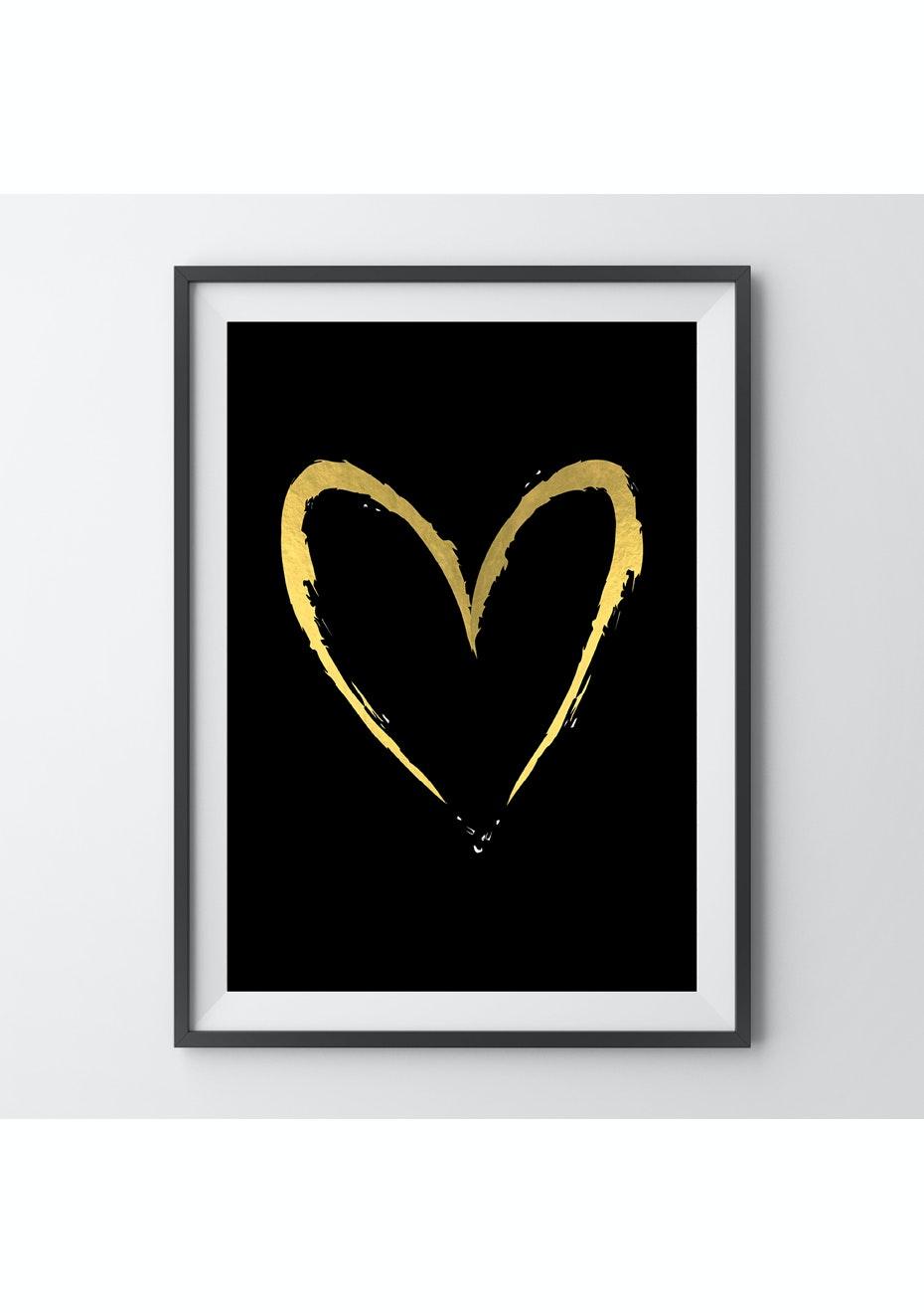 Simply Creative - Gold Heart - A4 Gold Foil Print