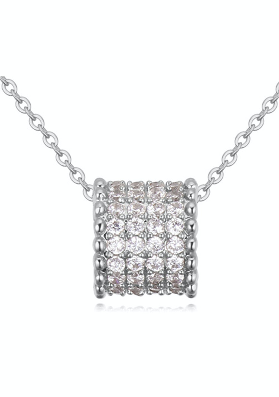 Classic Pave Pendant Necklace Embellished with Crystals from Swarovski