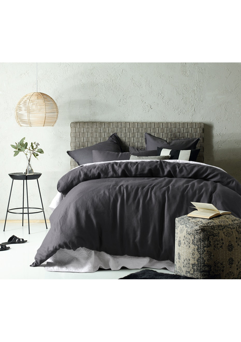 Linen/Cotton Slate Quilt Cover Set - King Bed