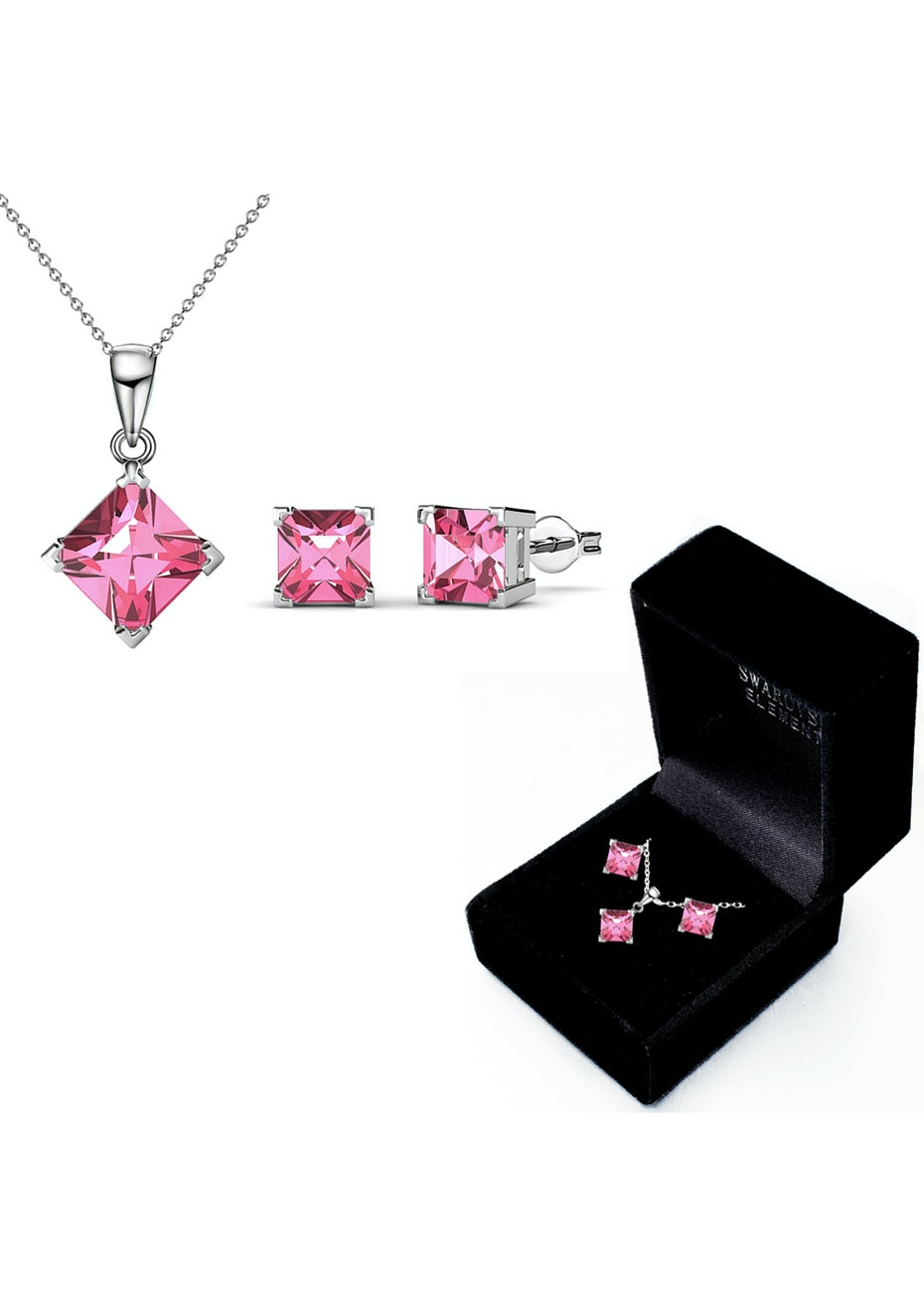 Boxed Matching Set Embellished with Crystals from Swarovski - Pink