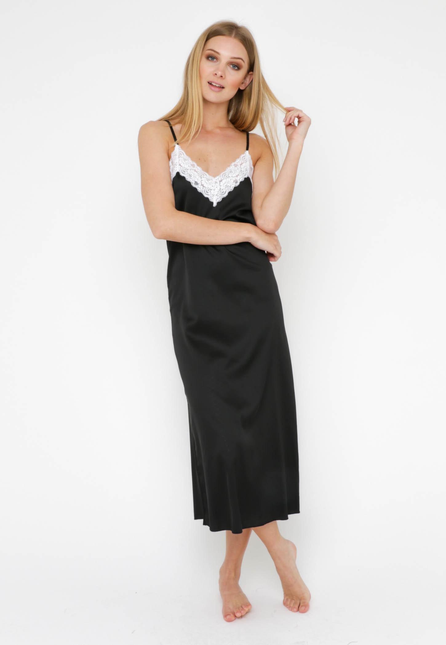 Anita Lace Midi Slip Dress - Black/White