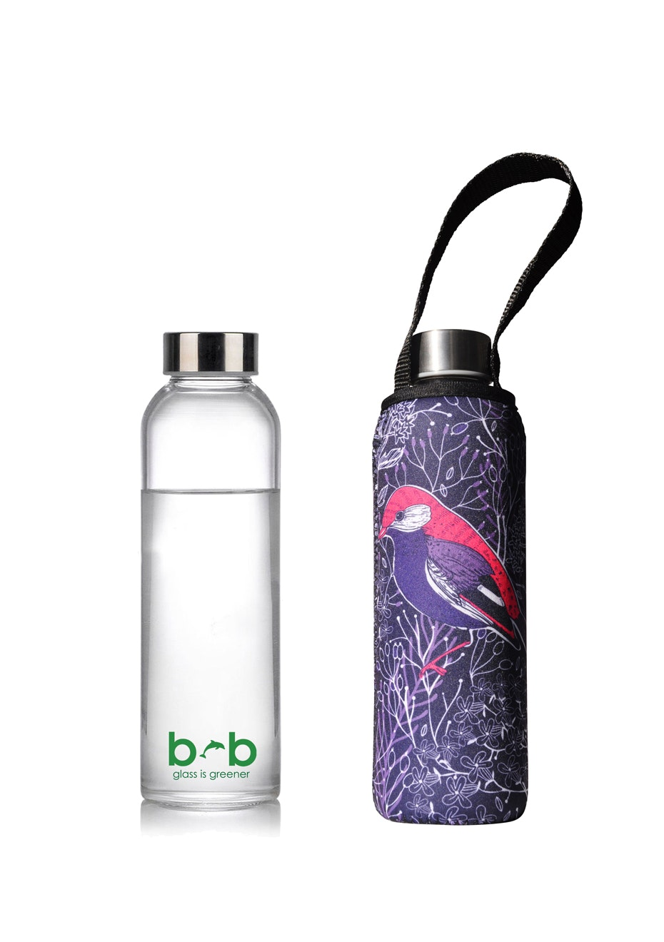 BBBYO - Glass Is Greener Bottle 570 ml + Carry Cover (Chirp Print) - 570 ml