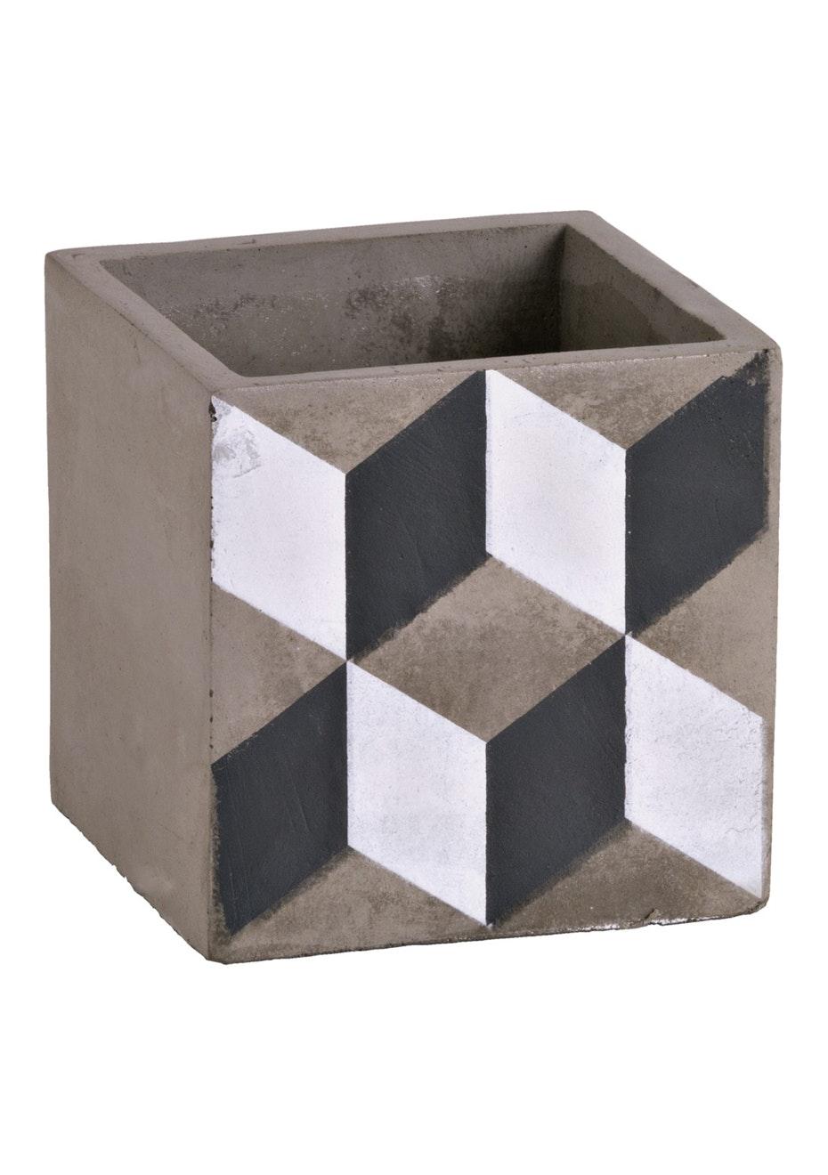 Jason - Concrete geo pattern planter - Printed Concrete