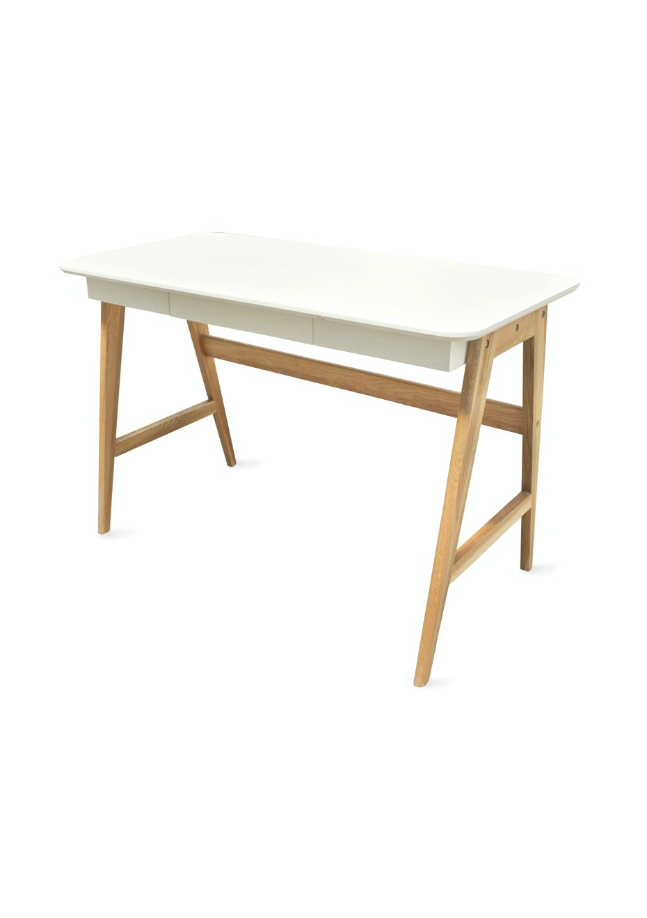 Furniture By Design - Radius Desk- White and Oak