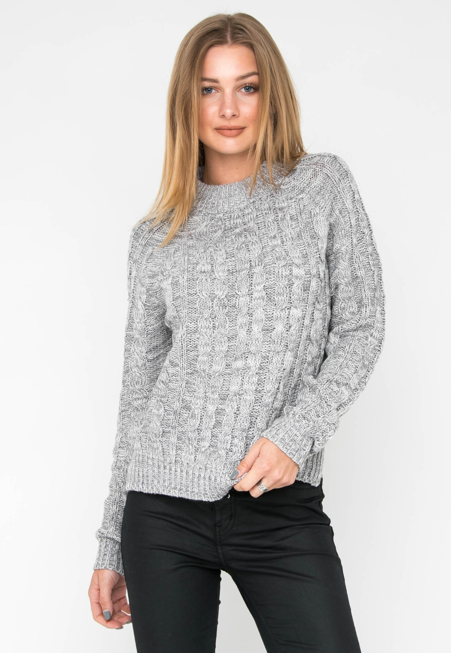 Long Sleeve Cable Sweater - Grey