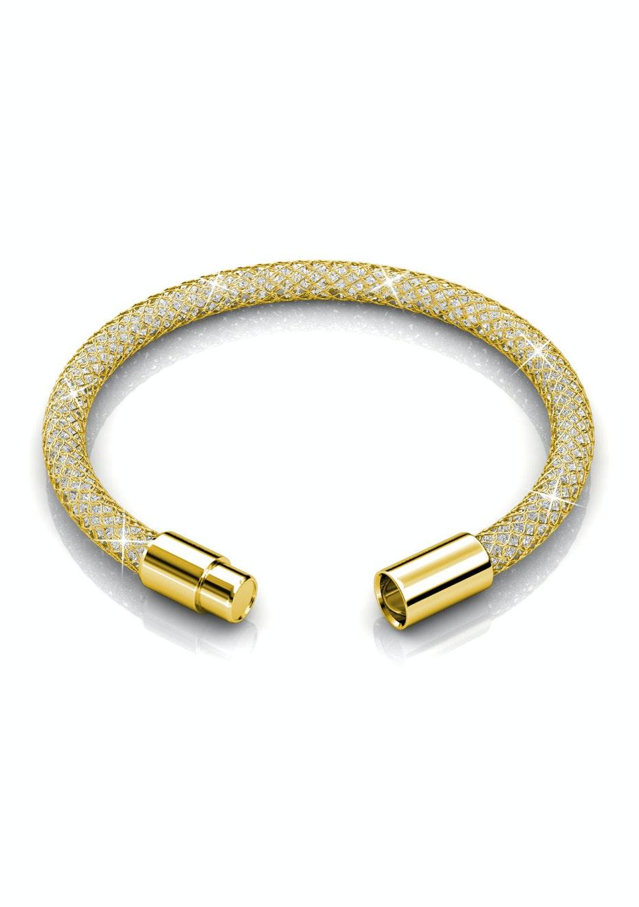 Mesh Single Wrap Bracelet Ft Swarovski Elements-Gld