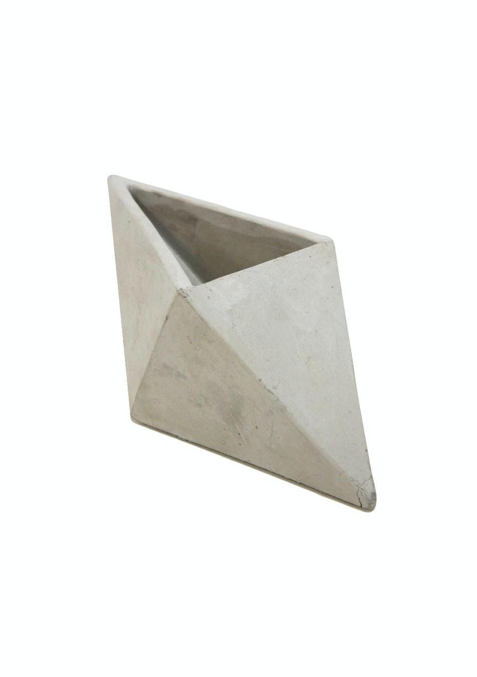 Diamond Concrete Planter - Grey