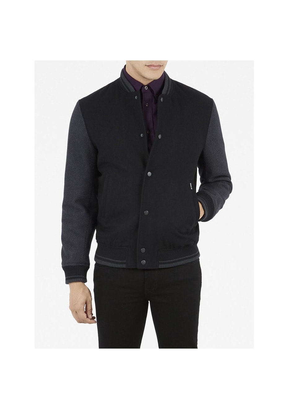 Melton Tipped Bomber Jet Black