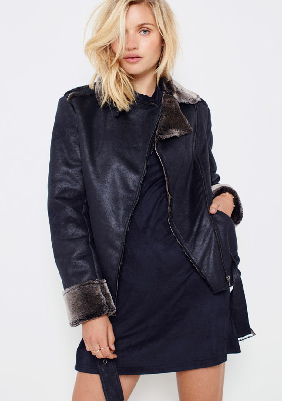 MINKPINK - Midnight Sky Aviator Jacket - Black/Charcoal
