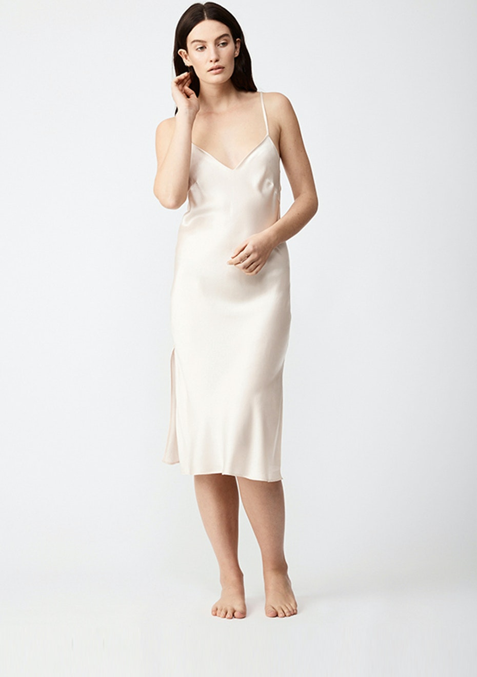 NATALIJA - Silk Slip Dress - Champagne