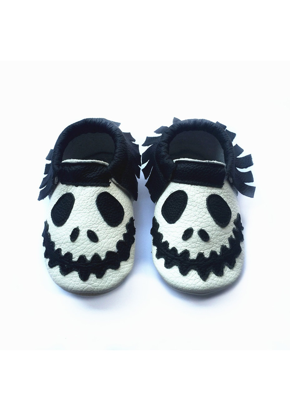 Baby  Leather Shoes - White / Black Skull