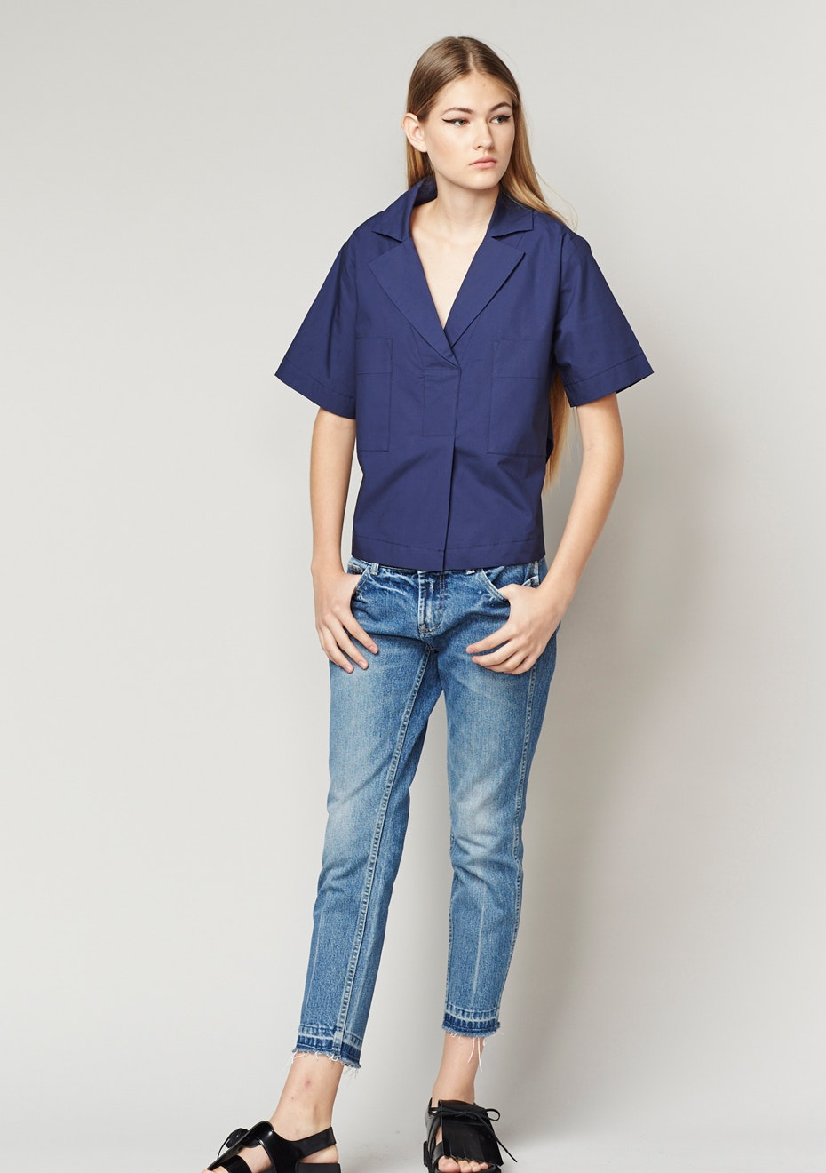 Achro - Short Sleeve Collared Shirts - Navy