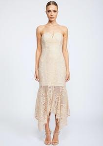 435ad09ed3e Shona Joy - Lace Bustier Handkerchief Midi Dress - Nude