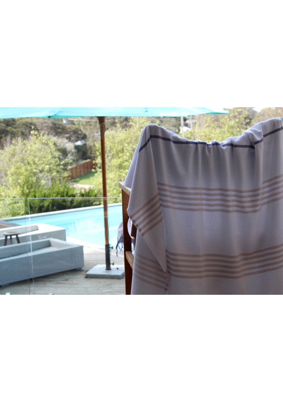 Sail Navy & Beige Terry Turkish Towel
