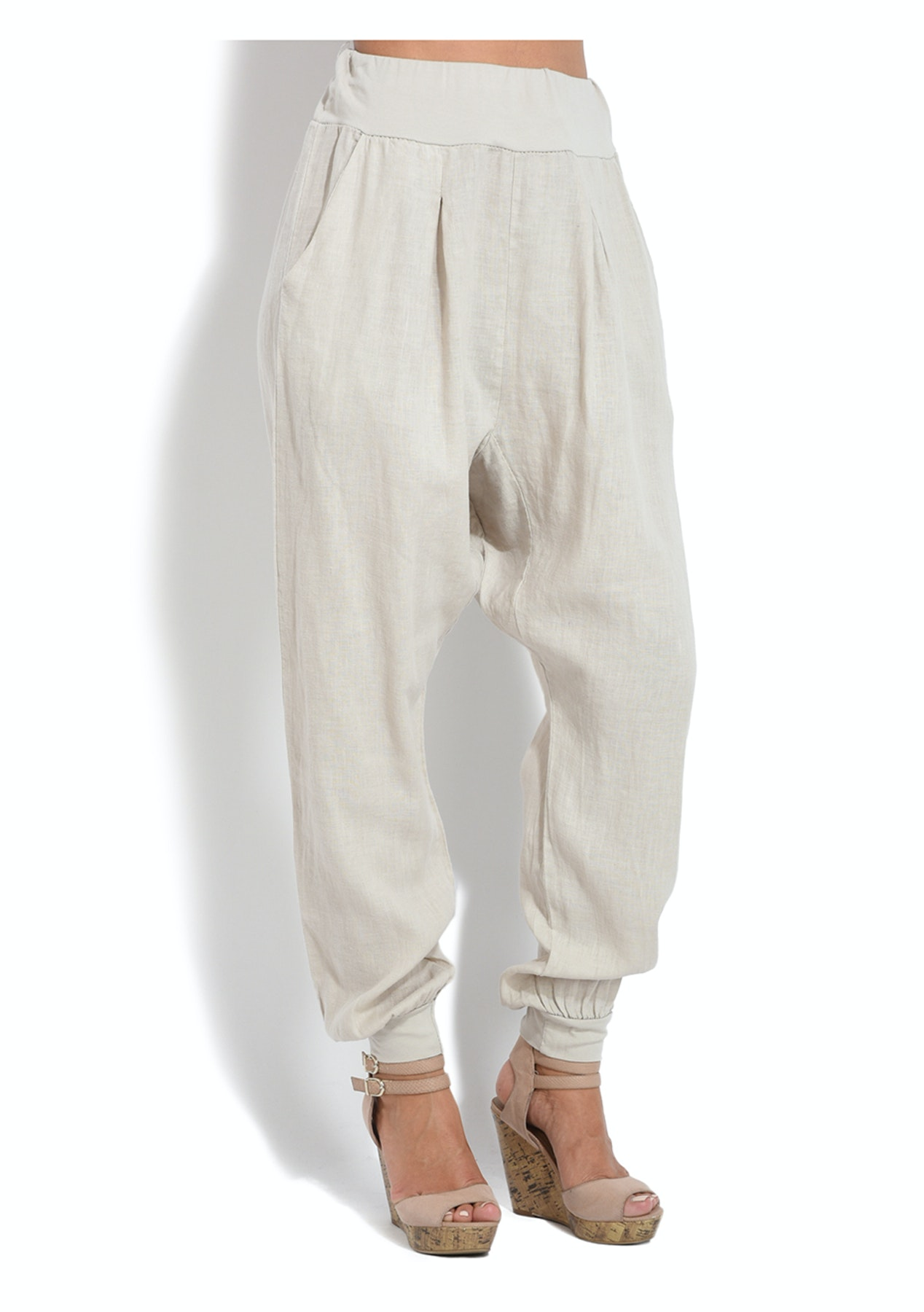 57943923cb6 Melissa Harem Pants - Beige - Italian Made Linen Up To 76% Off - Onceit