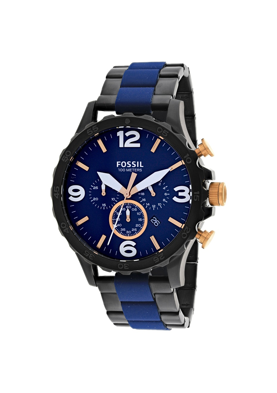 Fossil Men's Nate Chronograph - Blue/Two-tone black/