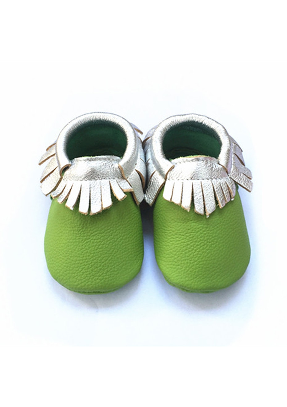 Baby  Leather Shoes - Xmas Green / Silver