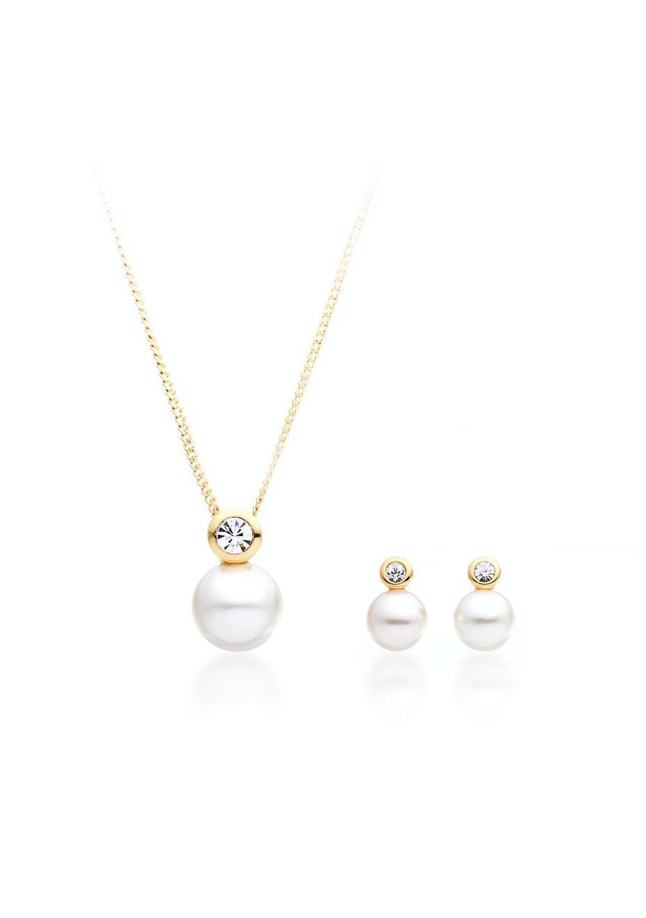 Matching Pearl Set Embellished with Crystals from Swarovski