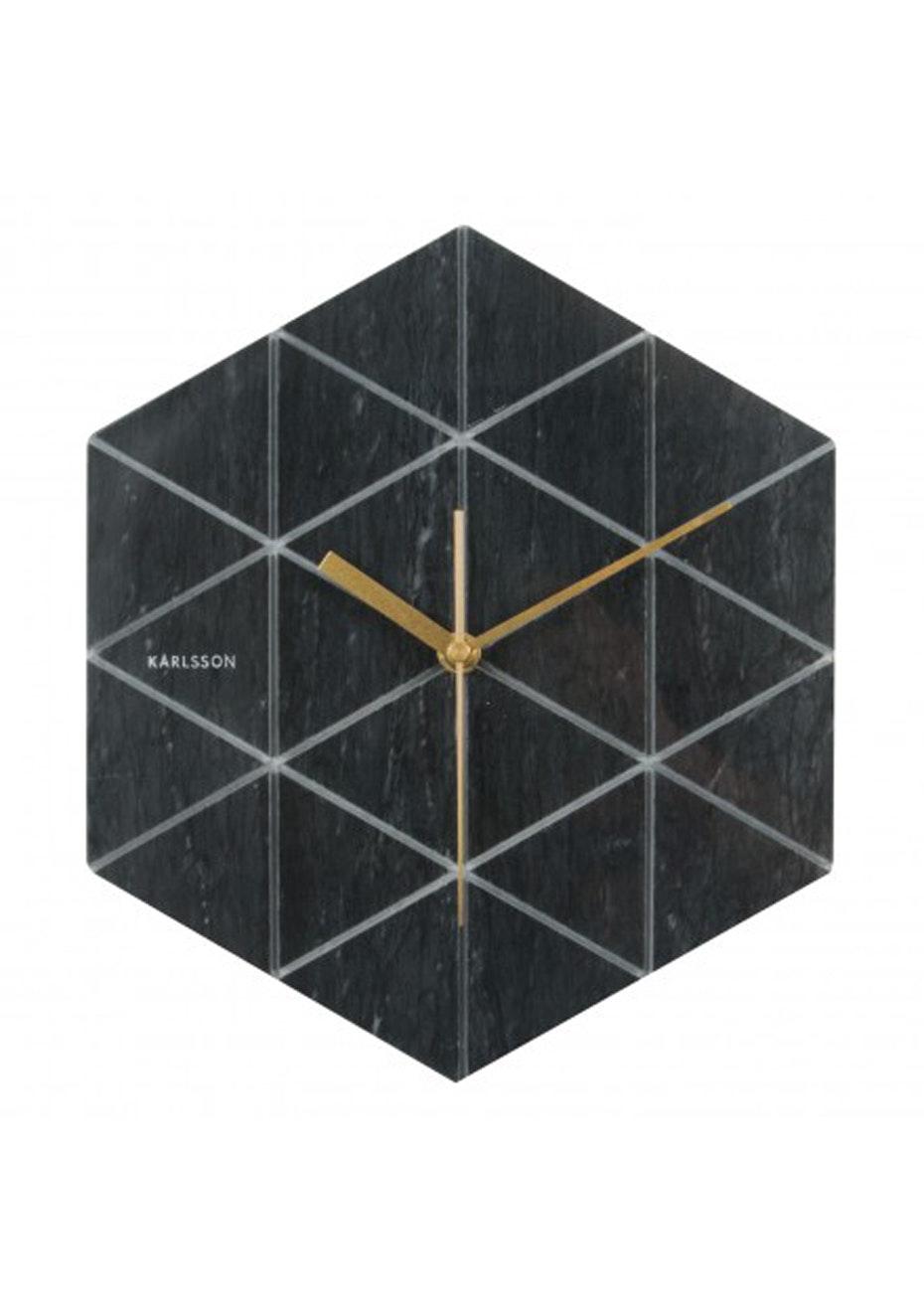 Karlsson - Wall Clock 'Marble Hexagon' - Black
