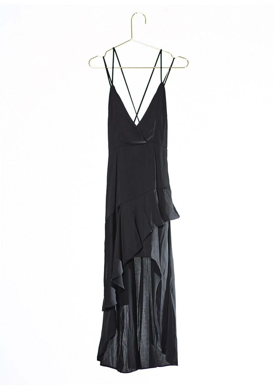 CELIA FRILL MAXI DRESS - BLACK