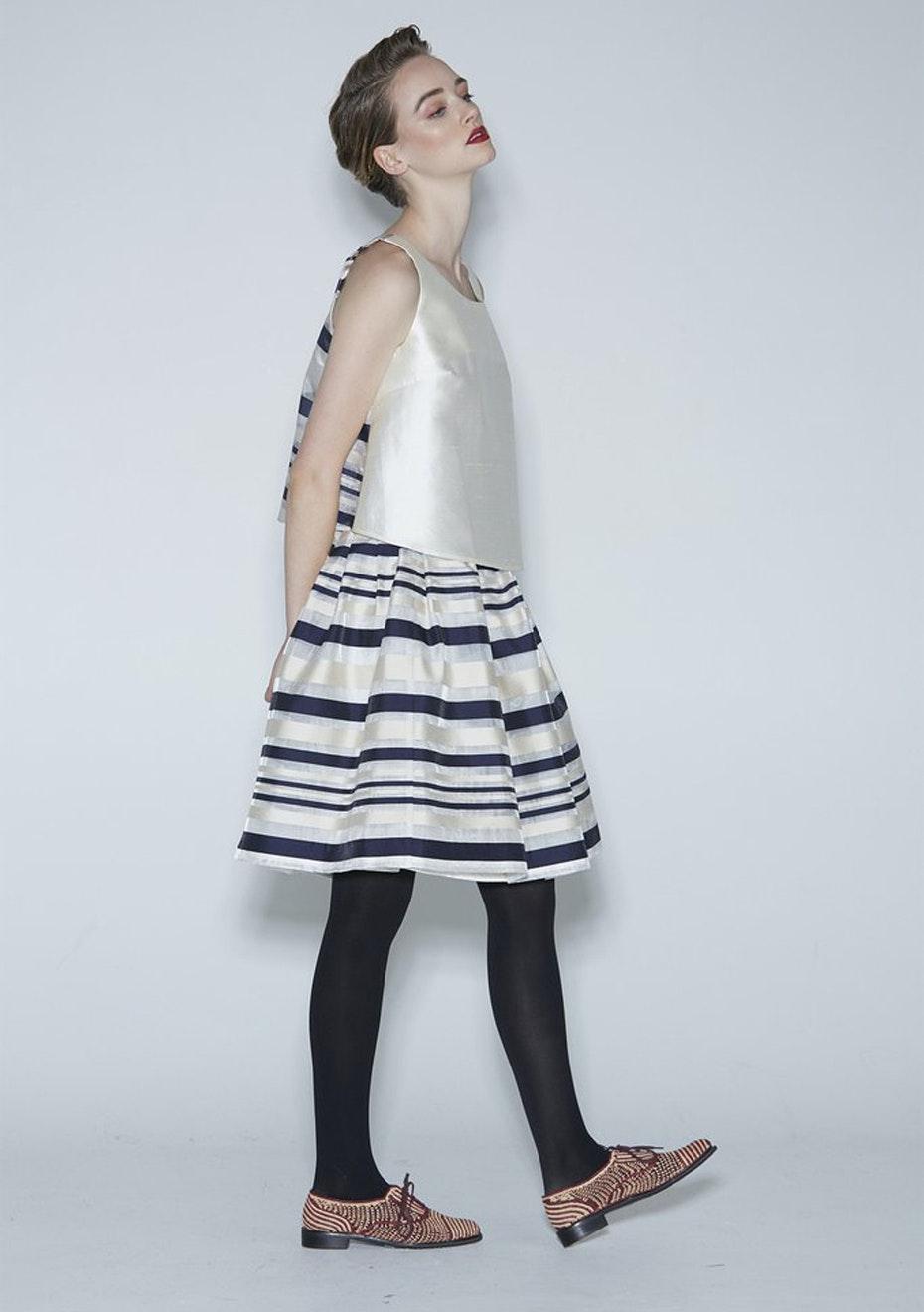 WORLD - Wilde Skirt - White/Navy Stripe