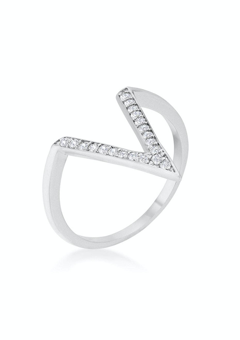 Designer V Ring - White Gold