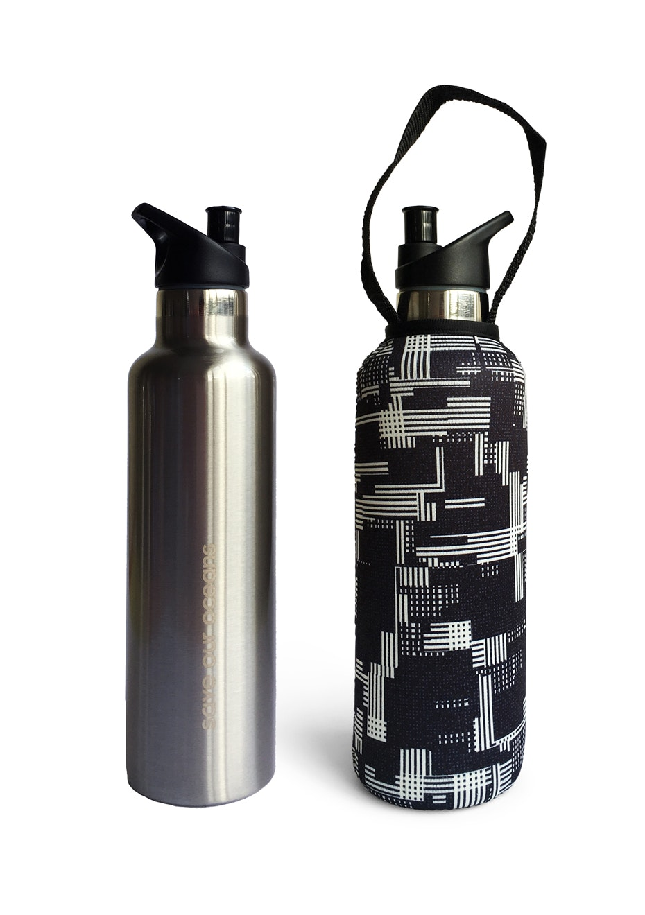 BBBYO - Thermal Traveller Bottle+ Carry Cover (Slate  Print)- sports cap - 750 ml Black