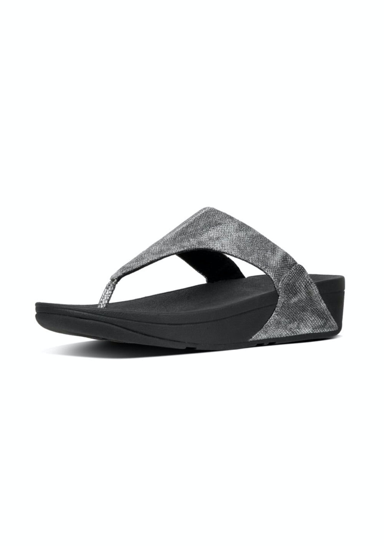 baeabb6f192 Fit Flop - Lulu Toe-Thong Sandals -Black Shimmer-Print - Fit Flop   More -  Onceit