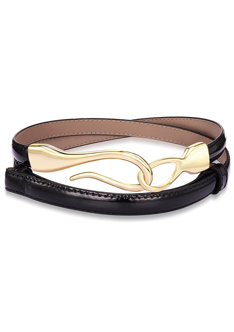 Genuine Cow Leather Skinny Waist Belt-Aurora black