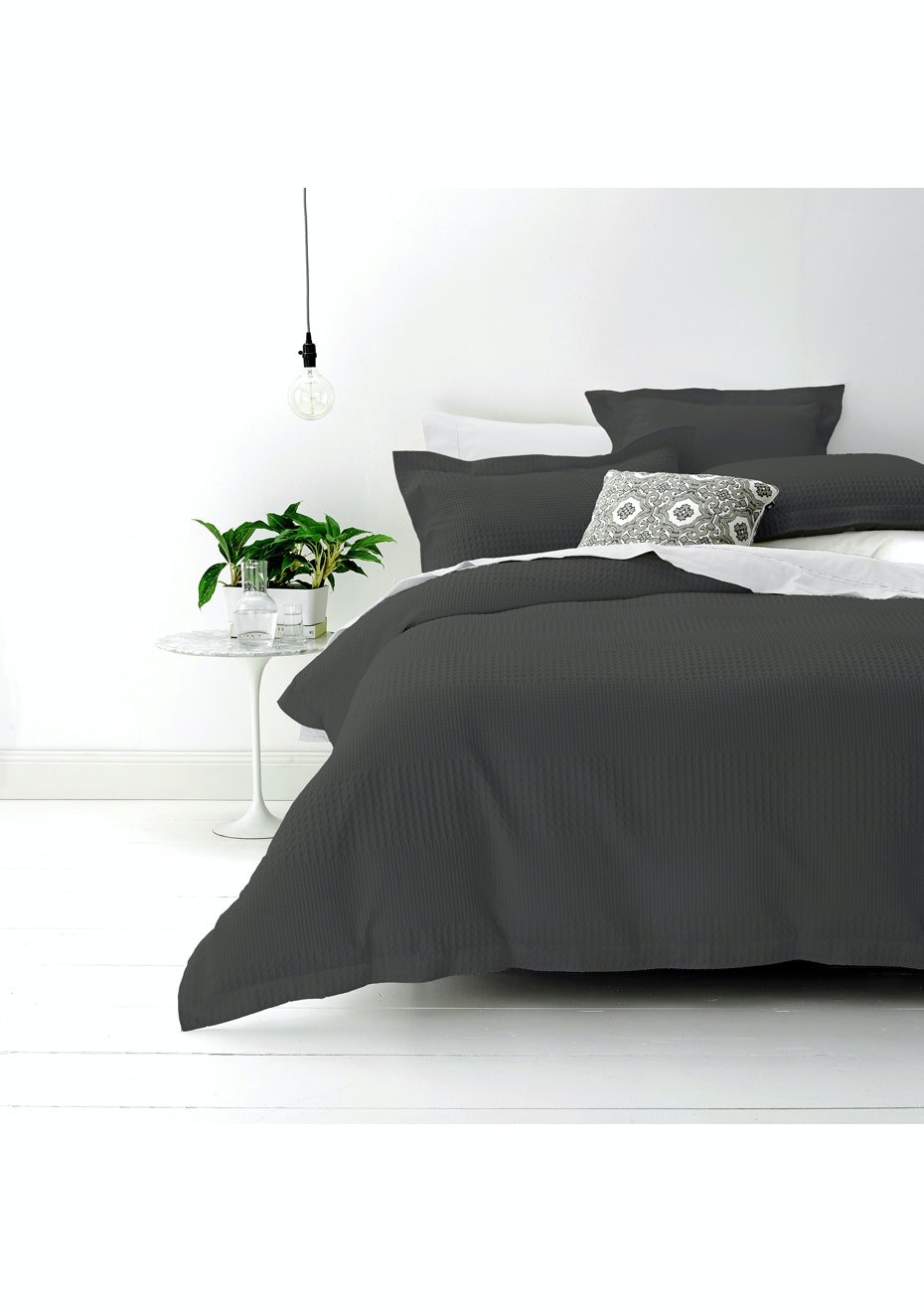 Style & Co 100 % Cotton Jacquard Waffle Quilt Cover set Super King Bed Granite