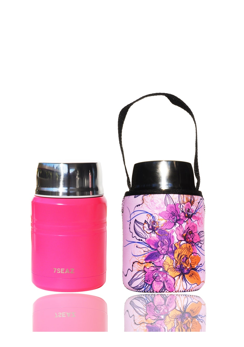 BBBYO - Foodie Insulated lunch container + carry cover 500 ml (Floral print)- Bright pinl