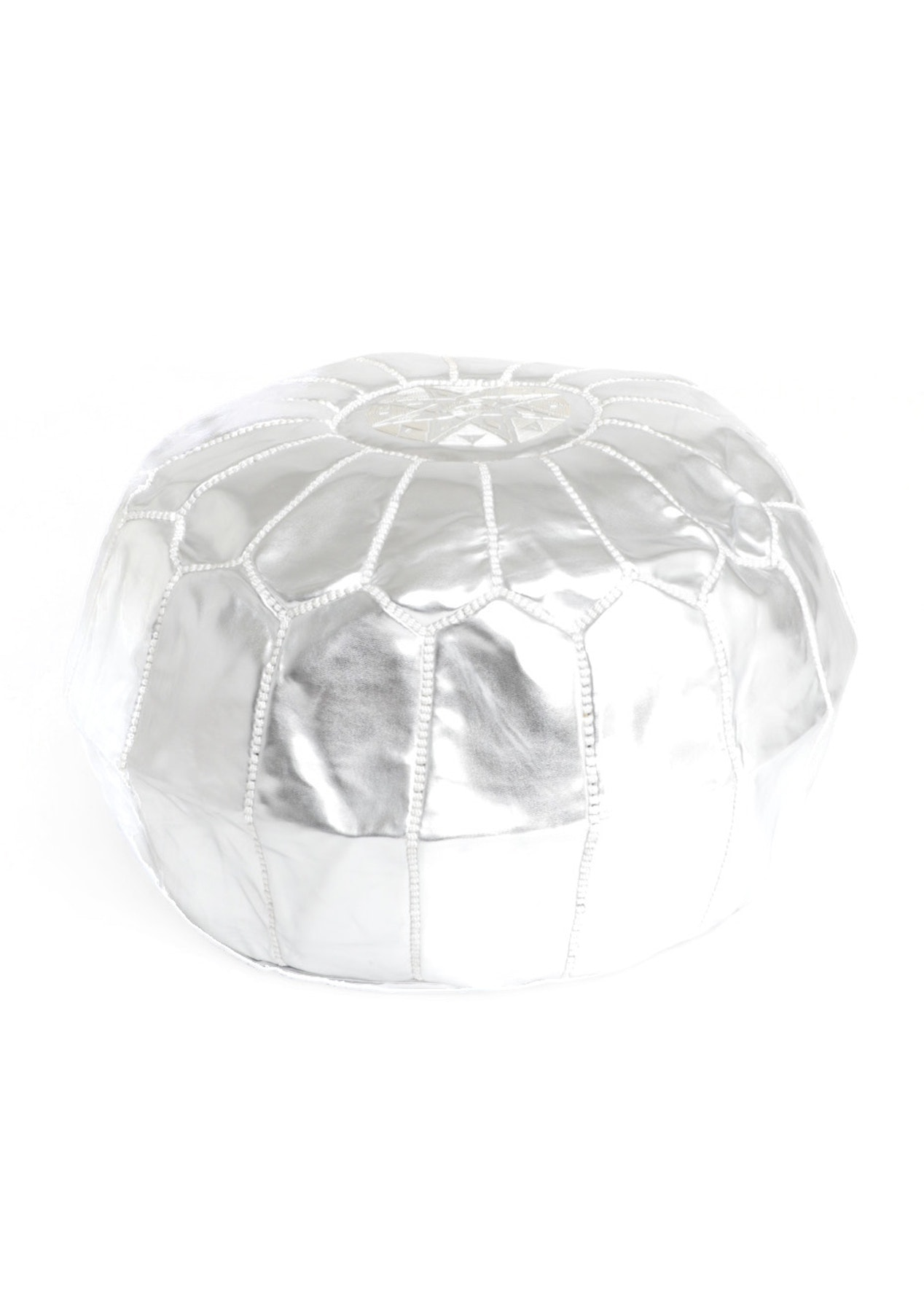 Faux Leather Metallic Moroccan Pouf - Silver