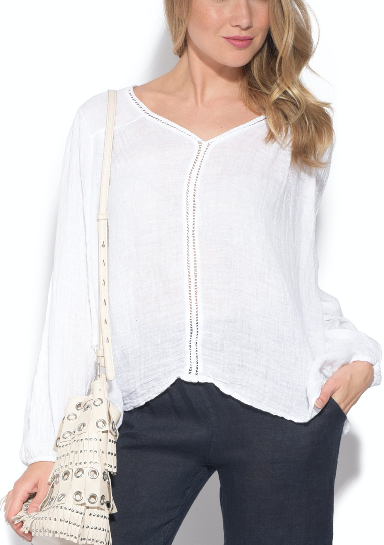 361f9553c3dd6 La fabrique du lin - Alice 100% Linen Top - White - Luxe Linen Looks Made  in Italy - Onceit