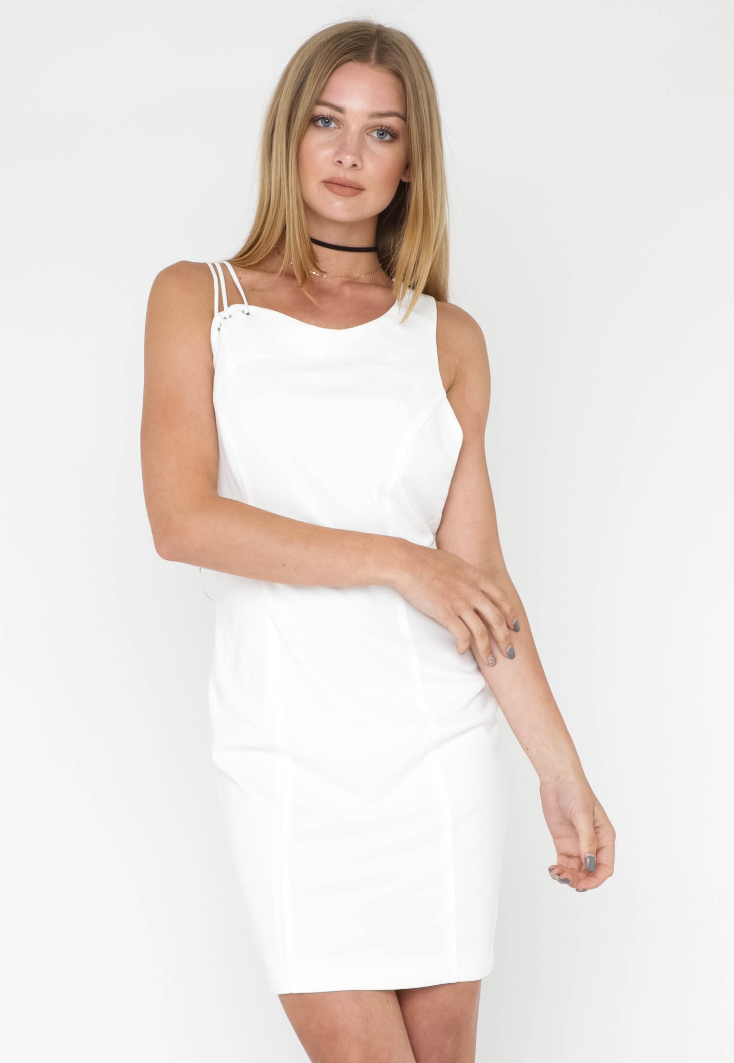 Geometric Strap Dress - Ivory
