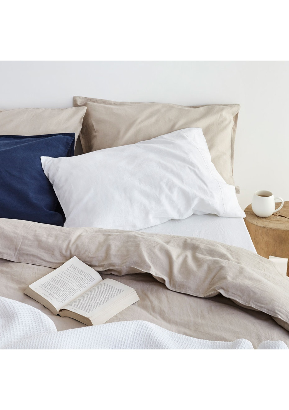 Sogno Linen Cotton Duvet Cover Set Cappuccino Taupe King Bed